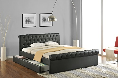 doppelbett polsterbett bettgestell bett lattenrost kunstleder gelschaum topper. Black Bedroom Furniture Sets. Home Design Ideas