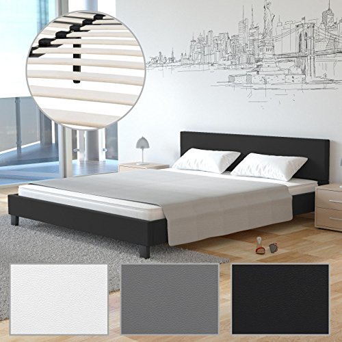 homelux polsterbett doppelbett bettgestell bettrahmen kunstleder gelschaum topper. Black Bedroom Furniture Sets. Home Design Ideas