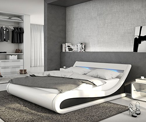 bett belana weiss schwarz 140x200 cm mit led beleuchtung polsterbett gelschaum topper. Black Bedroom Furniture Sets. Home Design Ideas