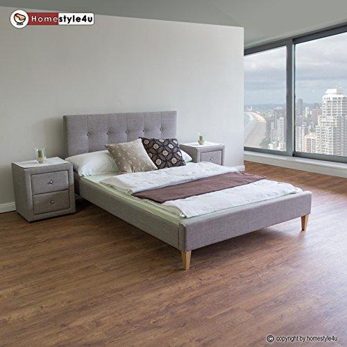 homestyle4u polsterbett doppelbett stoffbett bettgestell 160 x 200 lattenrost bett grau. Black Bedroom Furniture Sets. Home Design Ideas