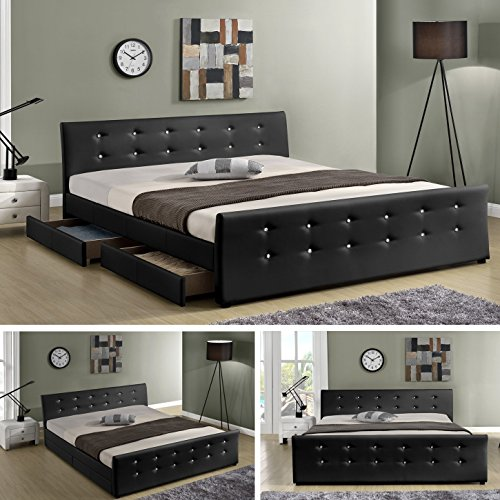 luxusbett ph nix schwarz doppelbett polsterbett mit 4. Black Bedroom Furniture Sets. Home Design Ideas