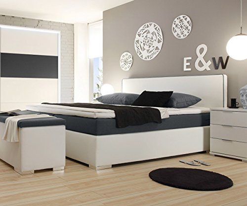 polsterbett norwich weiss 180x200 mit matratze topper. Black Bedroom Furniture Sets. Home Design Ideas