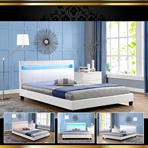 stella led weiss 160x200cm polsterbett doppelbett bettgestell bettrahmen mit lattenrost. Black Bedroom Furniture Sets. Home Design Ideas