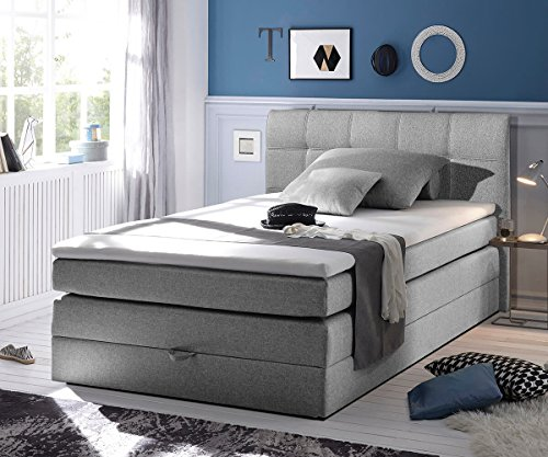 bett neptuno grau 140x200 cm matratze topper federkern bettkasten boxspringbett gelschaum. Black Bedroom Furniture Sets. Home Design Ideas