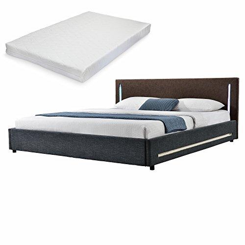 elegantes led polsterbett mit kaltschuam matratze. Black Bedroom Furniture Sets. Home Design Ideas