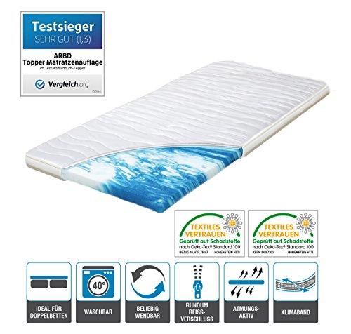 h2 topper matratzenauflage 140x200 kaltschaum mit bezug versteppt 7cm schlafen wie auf wolken. Black Bedroom Furniture Sets. Home Design Ideas