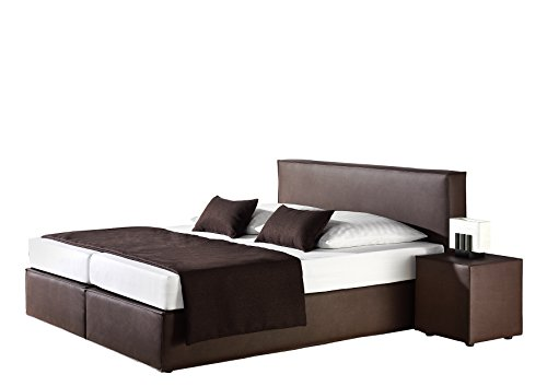 maintal boxspringbett carva 180 x 200 cm kunstleder tonnentaschenfederkern matratze h3 braun. Black Bedroom Furniture Sets. Home Design Ideas