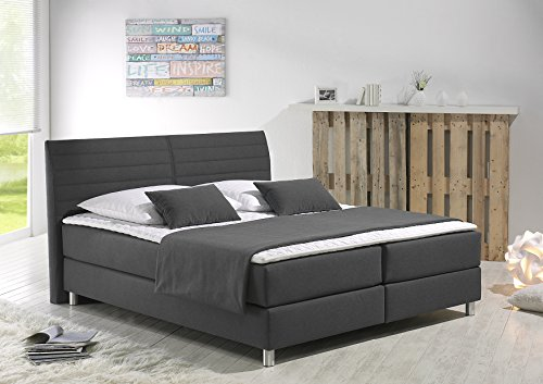 maintal boxspringbett denver 180 x 200 cm strukturstoff 7 zonen taschenfederkern matratze h3. Black Bedroom Furniture Sets. Home Design Ideas