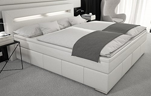 boxspringbett 180x200 cm led kunstleder weiss gelschaum topper. Black Bedroom Furniture Sets. Home Design Ideas