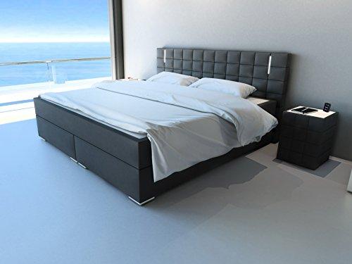 sam design boxspringbett mit neo stoff bezug in anthrazit led beleuchtung bonellfederkern. Black Bedroom Furniture Sets. Home Design Ideas