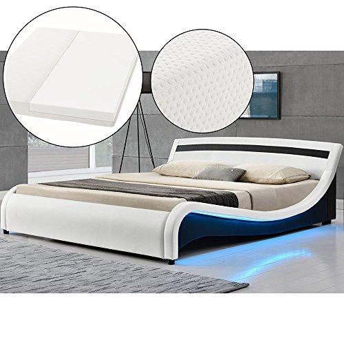 polsterbett malaga 180 x 200 cm led seitenteilen wei mit kaltschaummatratze artlife. Black Bedroom Furniture Sets. Home Design Ideas